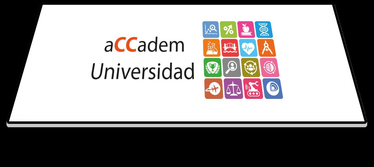 Tablet con logo aCCadem y grados universitarios
